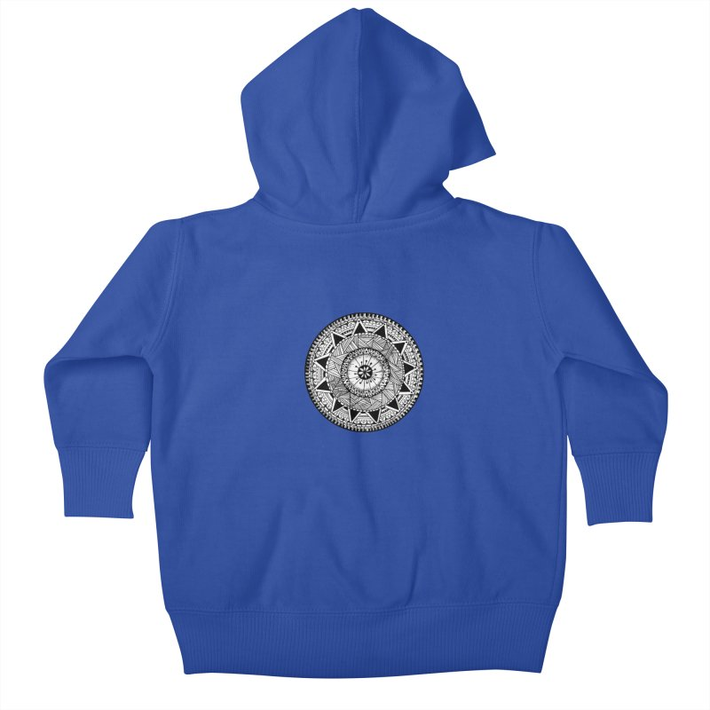 Hand Drawn Mandala Kids Baby Zip-Up Hoody by Mrc's Artist Shop