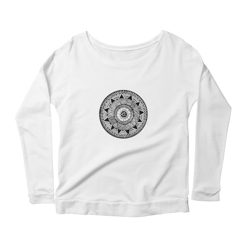 Hand Drawn Mandala Women's Longsleeve Scoopneck  by Mrc's Artist Shop