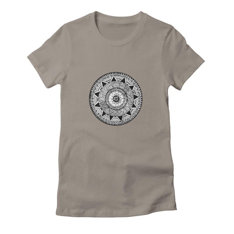 Hand Drawn Mandala Women's Fitted T-Shirt by Mrc's Artist Shop