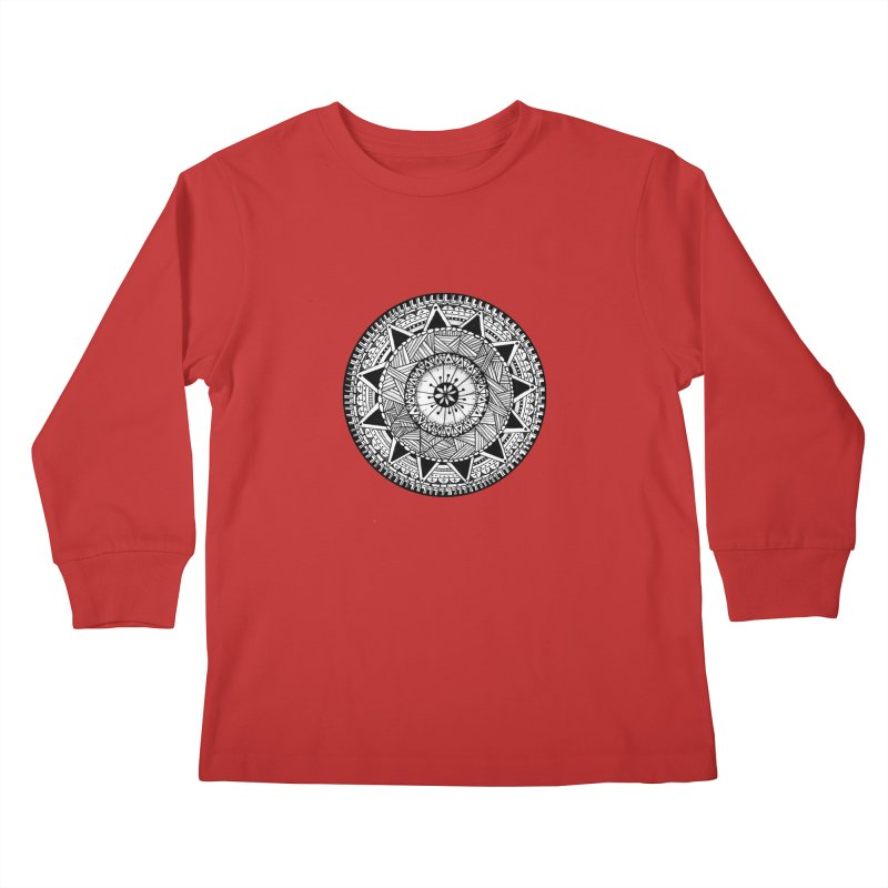 Hand Drawn Mandala Kids Longsleeve T-Shirt by Mrc's Artist Shop