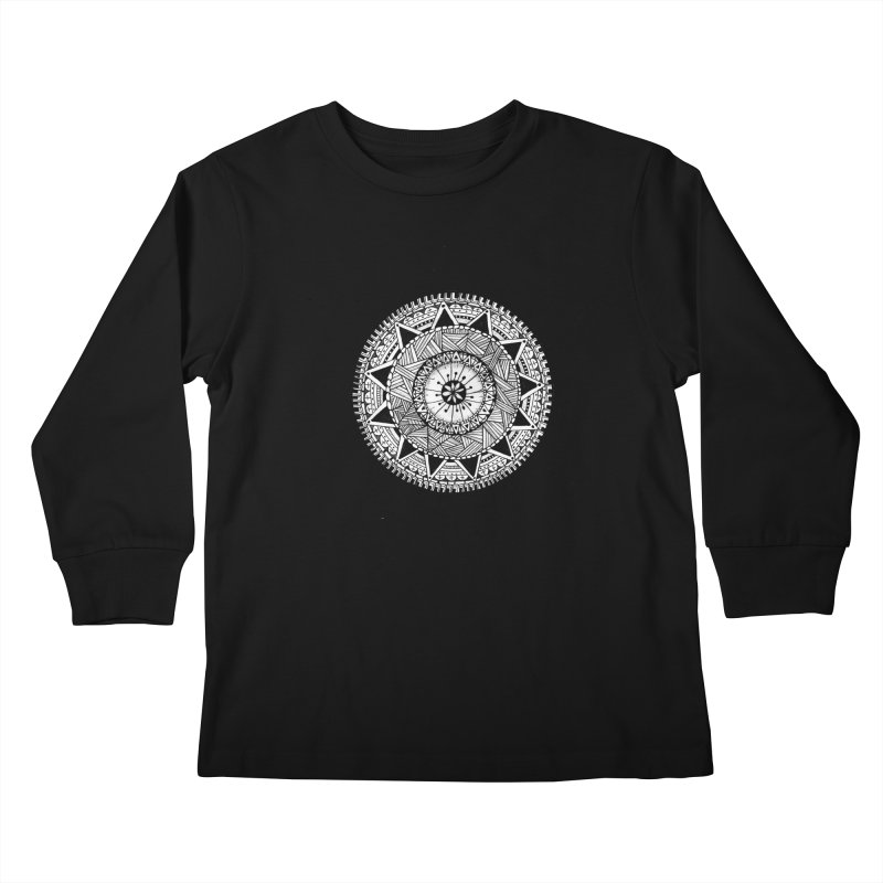 Hand Drawn Mandala Kids Longsleeve T-Shirt by Mrc's Artist Shop