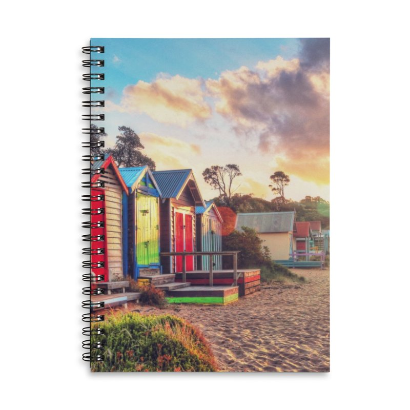 Beach Sunset Landscape Accessories Lined Spiral Notebook by Mrc's Artist Shop