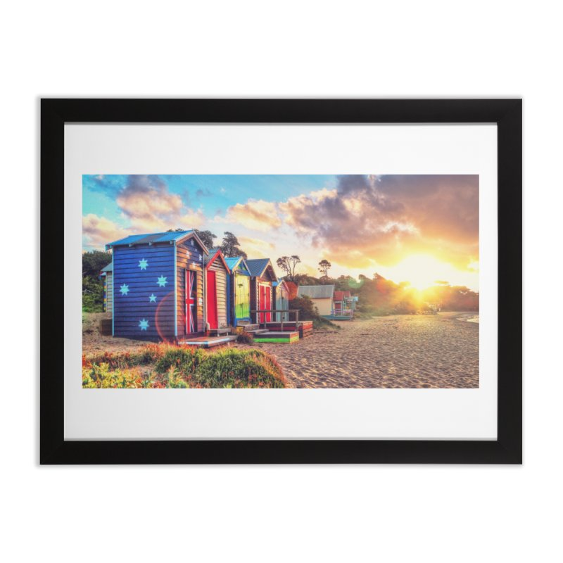 Beach Sunset Landscape in Framed Fine Art Print Black by Mrc's Artist Shop