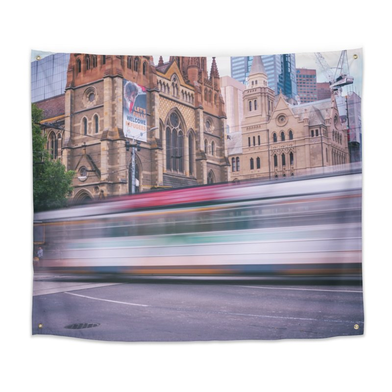 Trams in Melbourne Home Tapestry by Mrc's Artist Shop