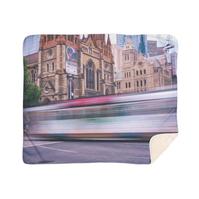 Trams in Melbourne Home Sherpa Blanket Blanket by Mrc's Artist Shop