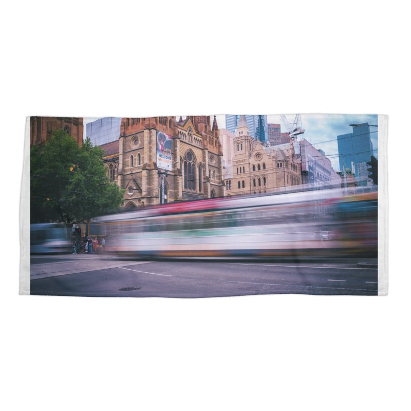 Trams in Melbourne Accessories Beach Towel by Mrc's Artist Shop