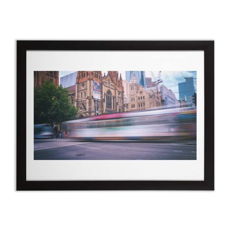 Trams in Melbourne in Framed Fine Art Print Black by Mrc's Artist Shop