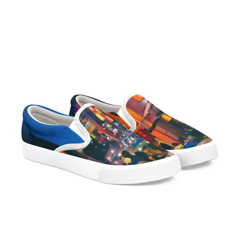 Chinatown Night Scene in Men's Slip-On Shoes by Mrc's Artist Shop