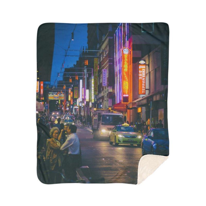 Chinatown Night Scene Home Sherpa Blanket Blanket by Mrc's Artist Shop