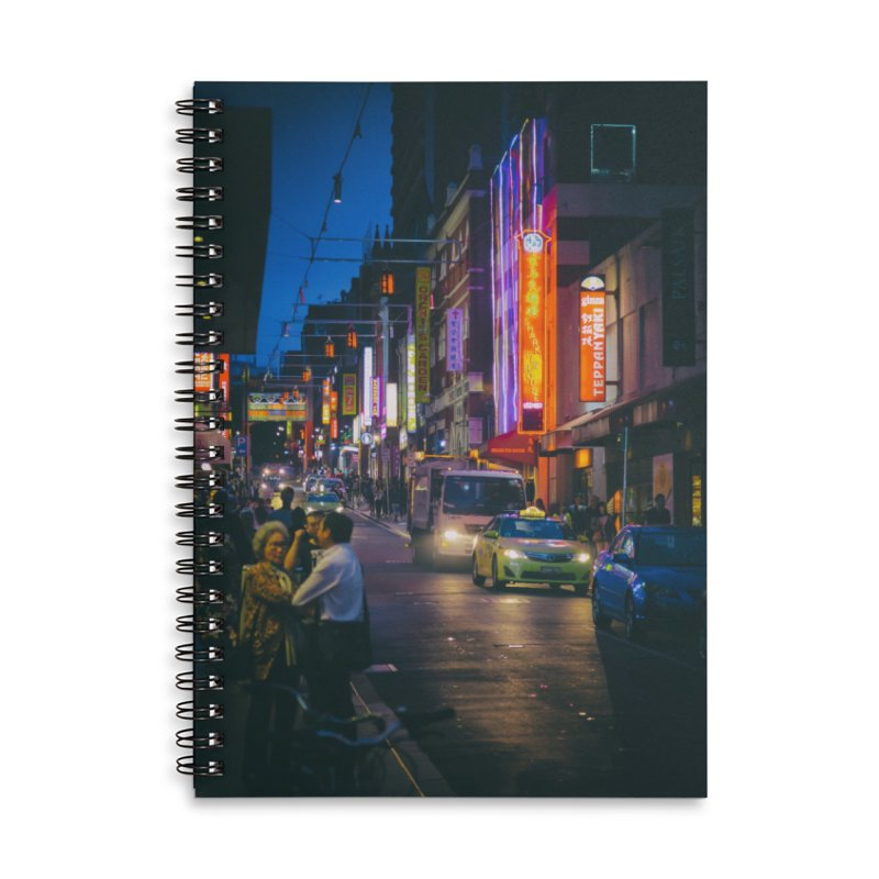 Chinatown Night Scene Accessories Lined Spiral Notebook by Mrc's Artist Shop