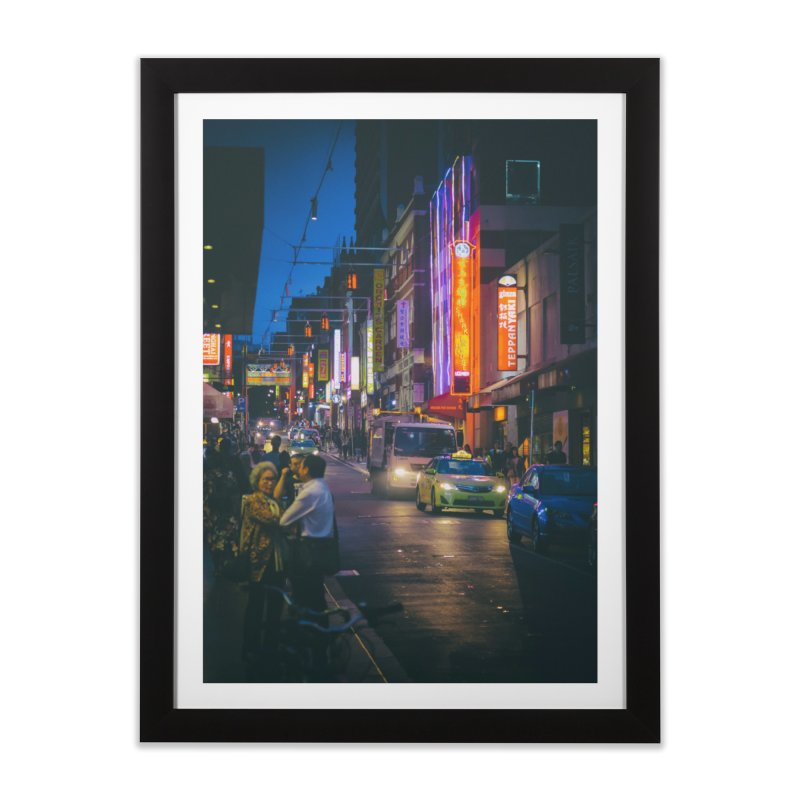Chinatown Night Scene in Framed Fine Art Print Black by Mrc's Artist Shop
