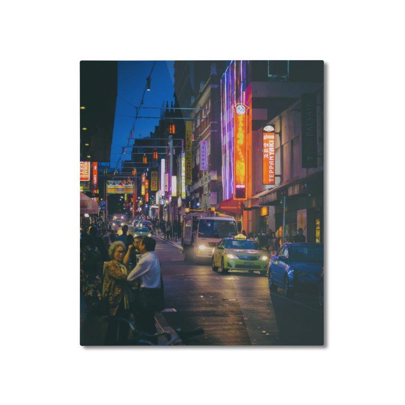 Chinatown Night Scene Home Mounted Aluminum Print by Mrc's Artist Shop