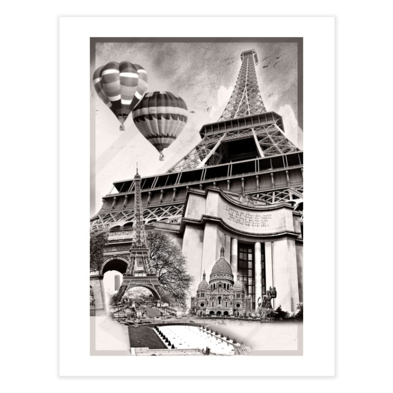 French Collage Home Fine Art Print by Mrc's Artist Shop