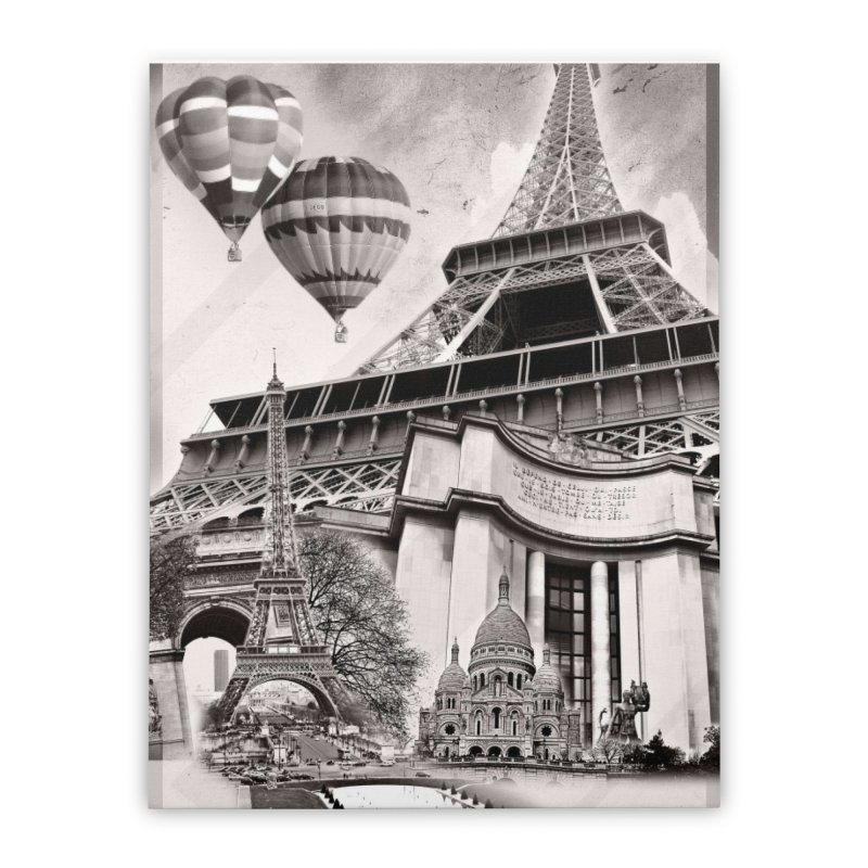 French Collage Home Stretched Canvas by Mrc's Artist Shop