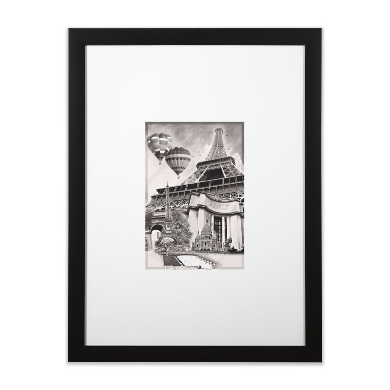 French Collage in Framed Fine Art Print Black by Mrc's Artist Shop