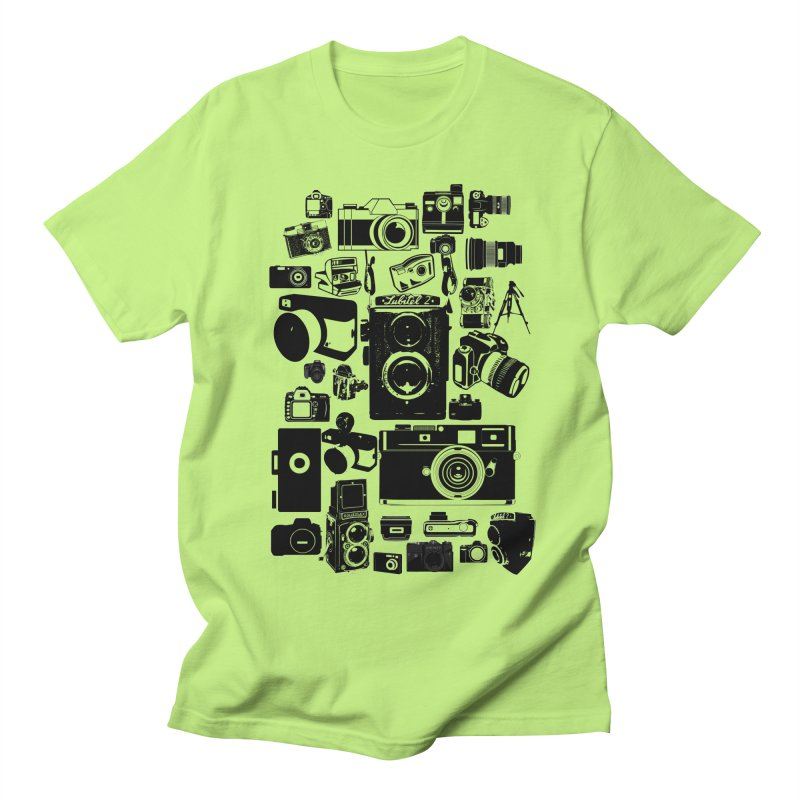 Cameras in Men's T-Shirt Neon Green by Mrc's Artist Shop