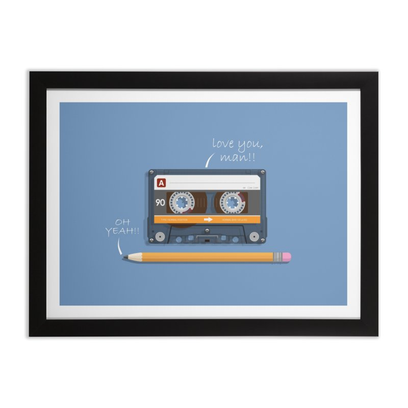 Cassette and Pencil Home Framed Fine Art Print by Mrc's Artist Shop