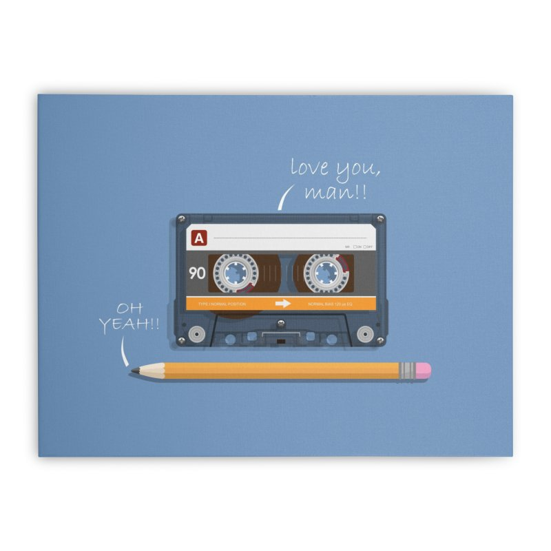 Cassette and Pencil Home Stretched Canvas by Mrc's Artist Shop