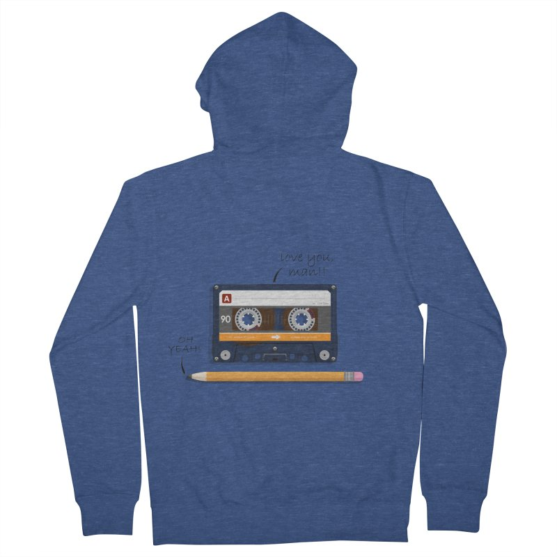 Cassette and Pencil Men's French Terry Zip-Up Hoody by Mrc's Artist Shop
