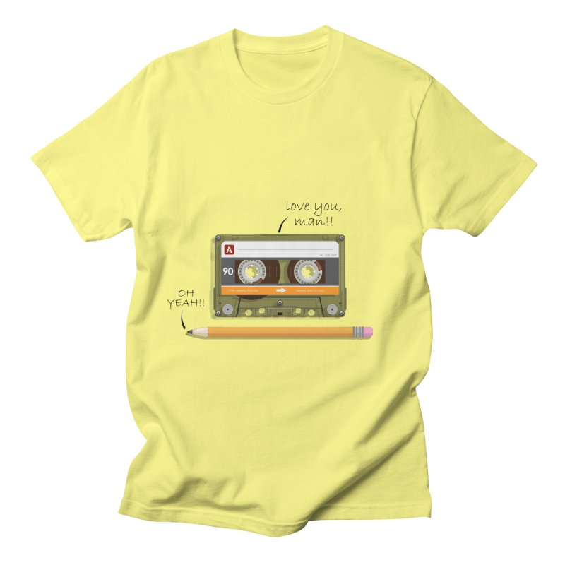 Cassette and Pencil in Men's T-shirt Lemon by Mrc's Artist Shop