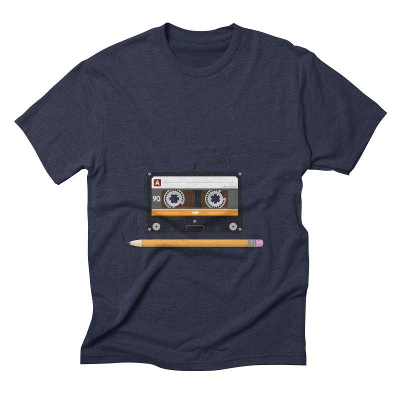 Cassette and Pencil Men's Triblend T-Shirt by Mrc's Artist Shop