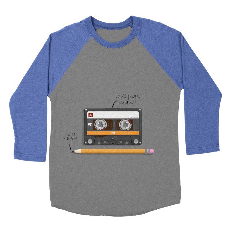 Cassette and Pencil Men's Baseball Triblend Longsleeve T-Shirt by Mrc's Artist Shop