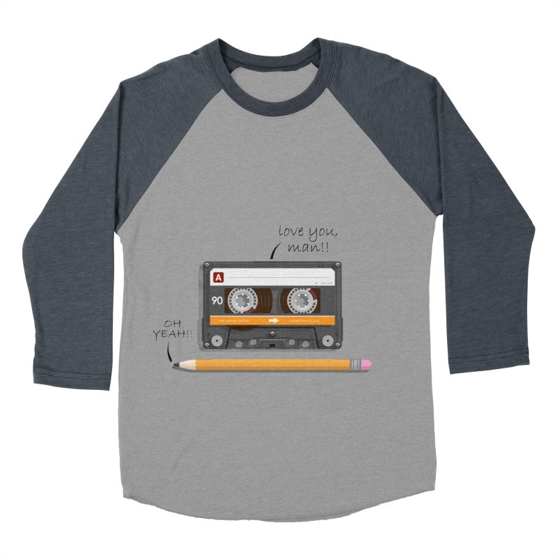Cassette and Pencil Men's Baseball Triblend Longsleeve T-Shirt by Mrc's Artist Shop