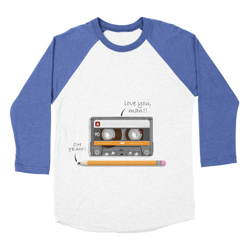 Cassette and Pencil Men's Baseball Triblend T-Shirt by Mrc's Artist Shop