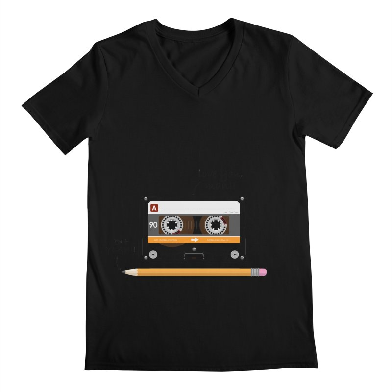 Cassette and Pencil Men's V-Neck by Mrc's Artist Shop