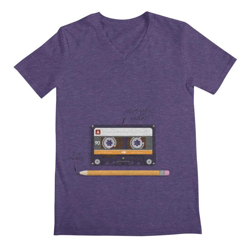 Cassette and Pencil Men's V-Neck by Mrc's Artist Shop