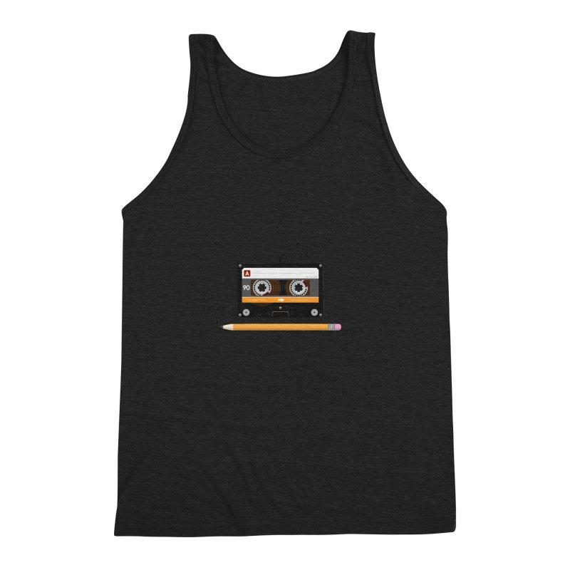 Cassette and Pencil Men's Triblend Tank by Mrc's Artist Shop