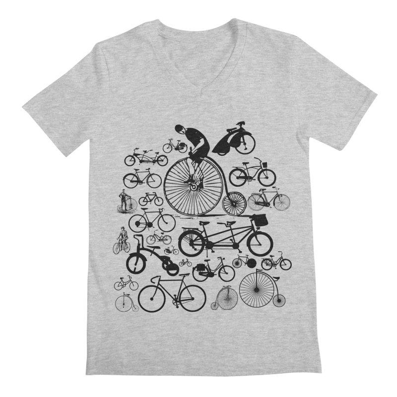 Bicycles Men's Regular V-Neck by Mrc's Artist Shop
