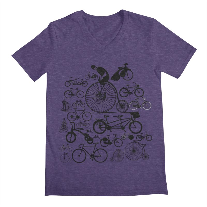 Bicycles Men's V-Neck by Mrc's Artist Shop