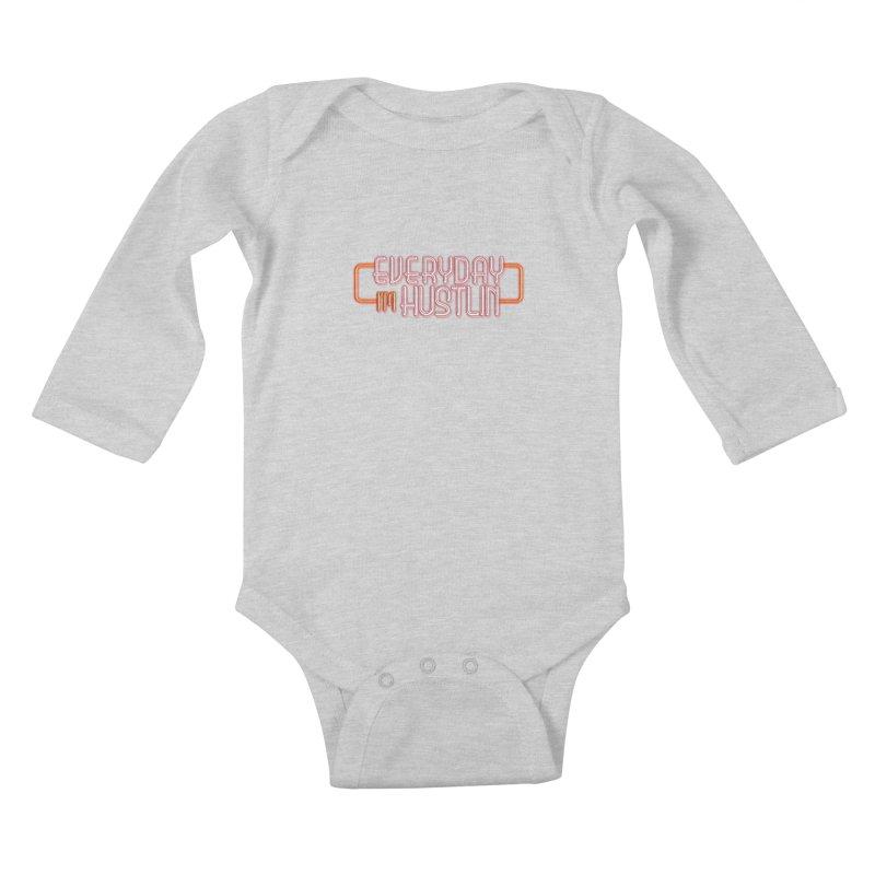 Everyday I'm Hustlin Kids Baby Longsleeve Bodysuit by Mrc's Artist Shop