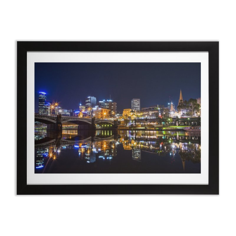 Beautiful Night in the City in Framed Fine Art Print Black by Mrc's Artist Shop