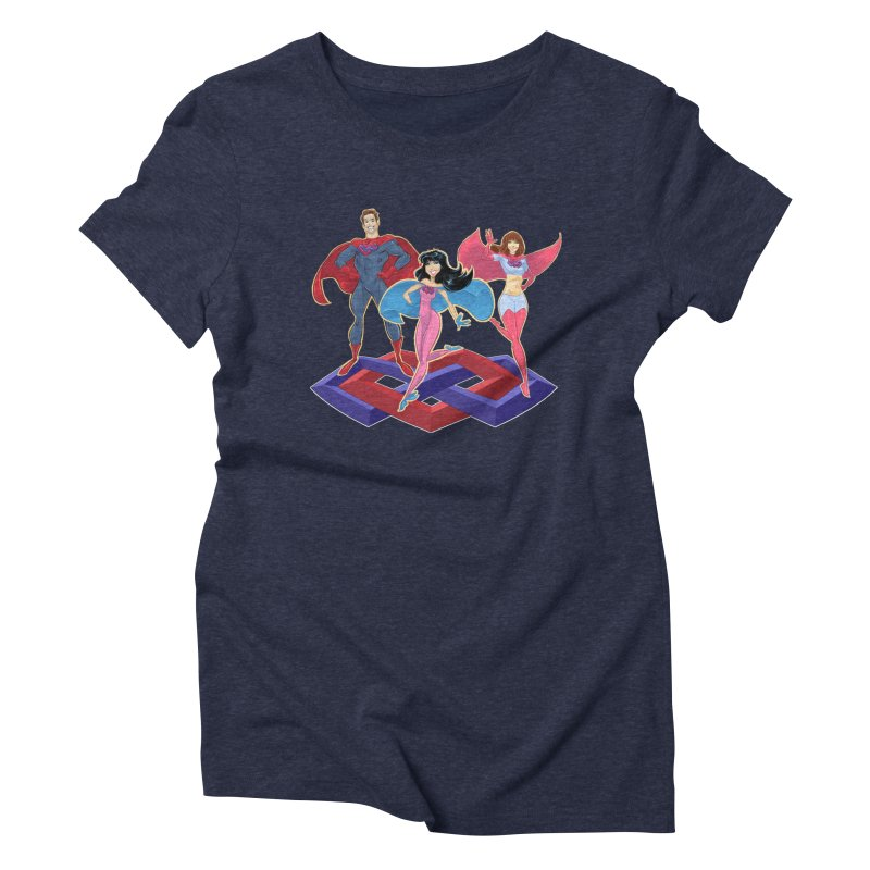 The Super Multis Apparel in Women's Triblend T-Shirt Navy by Multiamory's Shop