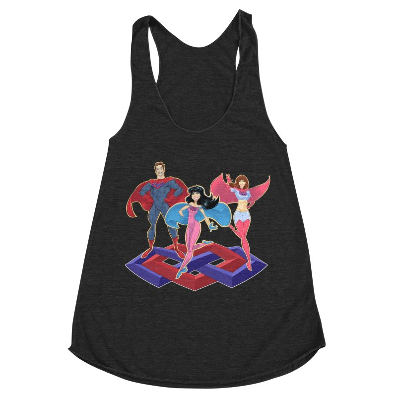 The Super Multis Apparel in Women's Racerback Triblend Tank Heather Onyx by Multiamory's Shop