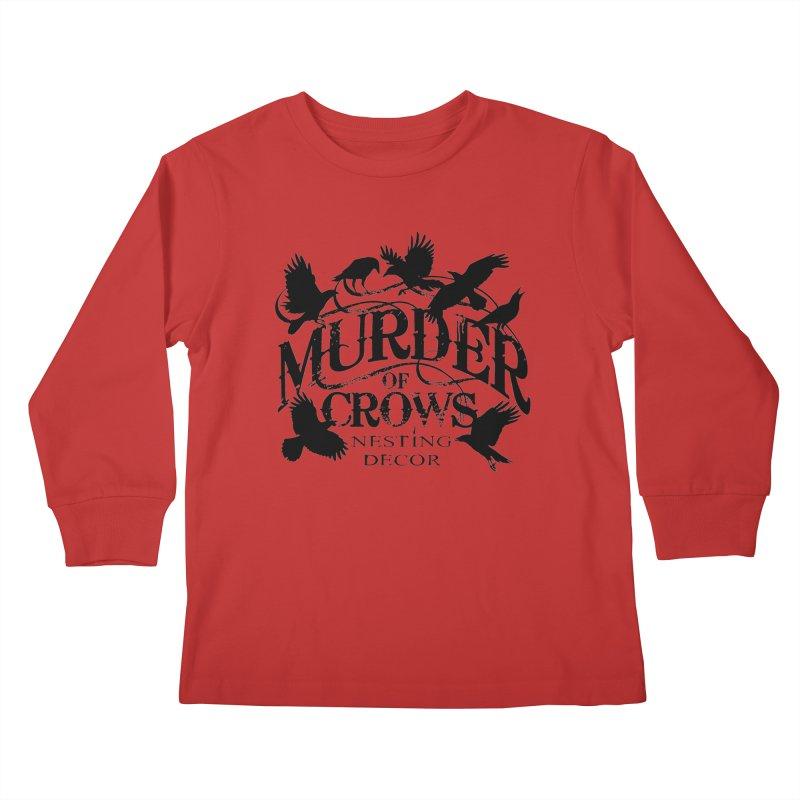 Murder of Crows Nesting Decor Logo Kids Longsleeve T-Shirt by Murder of Crows Nesting Decor Artist Shop