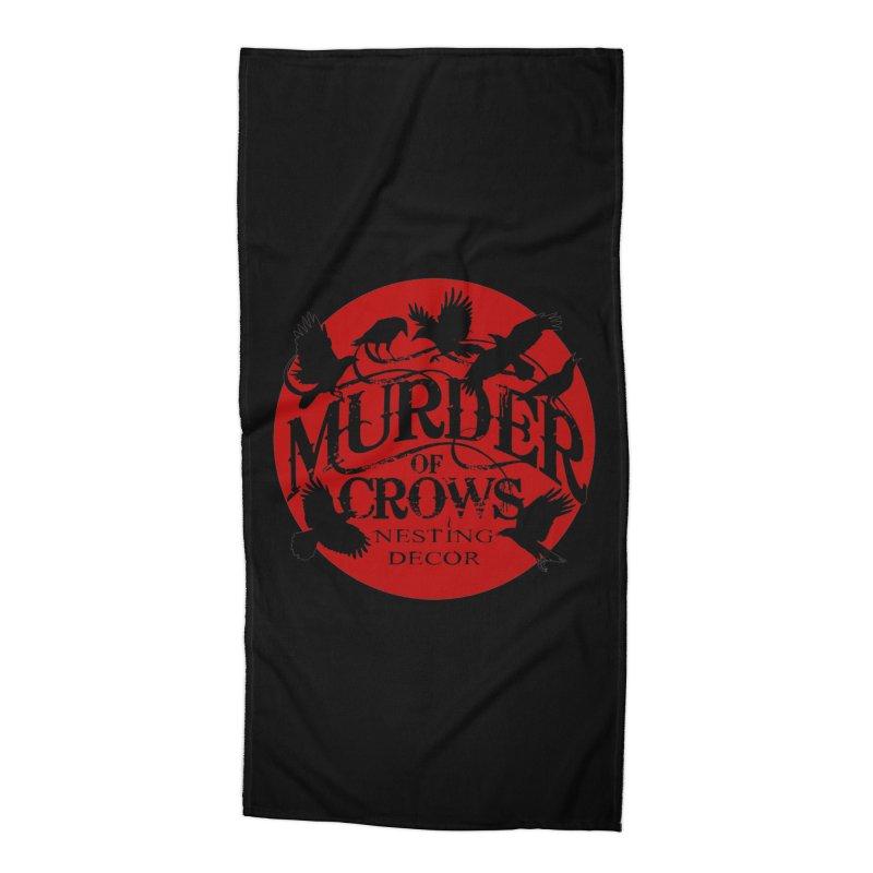 Murder Of Crows Nesting Decor full logo Accessories Beach Towel by Murder of Crows Nesting Decor Artist Shop