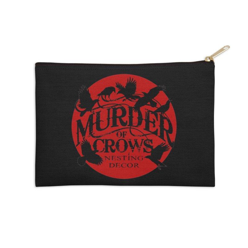 Murder Of Crows Nesting Decor full logo Accessories Zip Pouch by Murder of Crows Nesting Decor Artist Shop