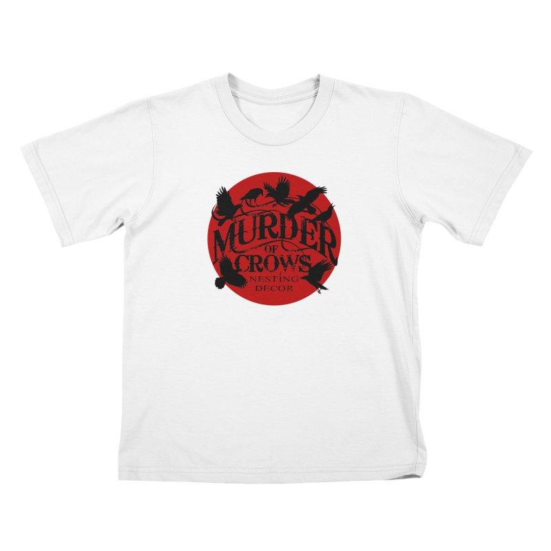 MOC Logo on White Kids T-Shirt by Murder of Crows Nesting Decor Artist Shop
