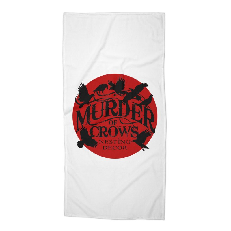 MOC Logo on White Accessories Beach Towel by Murder of Crows Nesting Decor Artist Shop