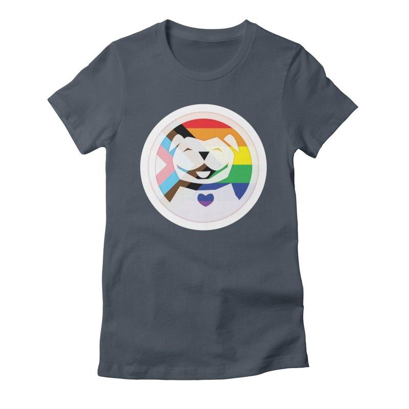 MPBIF Progress Pride Round Women's T-Shirt by My Pit Bull is Family Shop