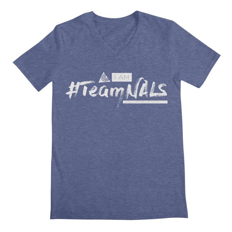 #TeamNALS-White Men's Regular V-Neck by NALS.org Apparel Shop