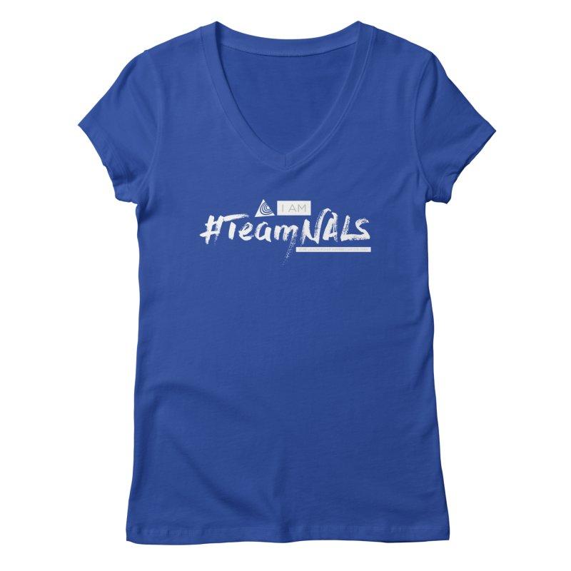 #TeamNALS-White Women's Regular V-Neck by NALS.org Apparel Shop