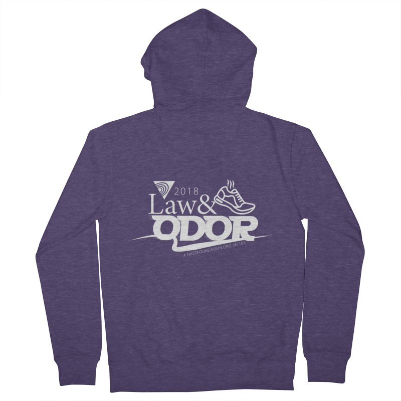 Law and Odor - White Logo Men's French Terry Zip-Up Hoody by NALS.org Apparel Shop