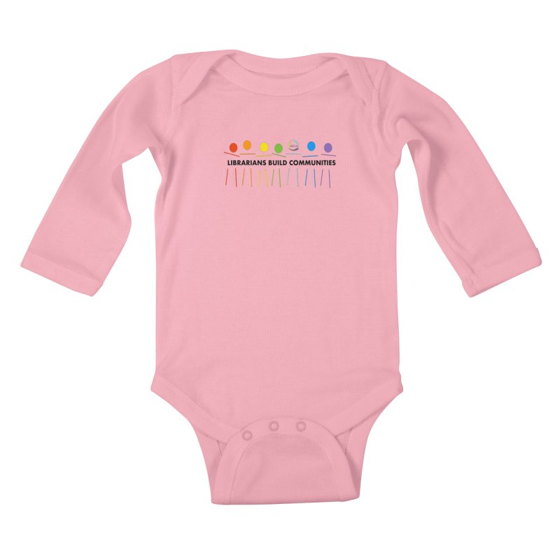 Rainbow Community (Black Text / Light Background) Kids Baby Longsleeve Bodysuit by North Carolina Library Association Summer Shop