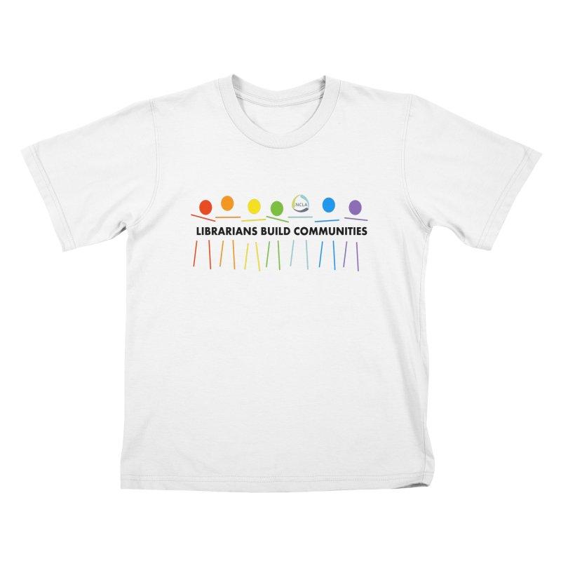 Rainbow Community (Black Text / Light Background) Kids T-Shirt by North Carolina Library Association Summer Shop