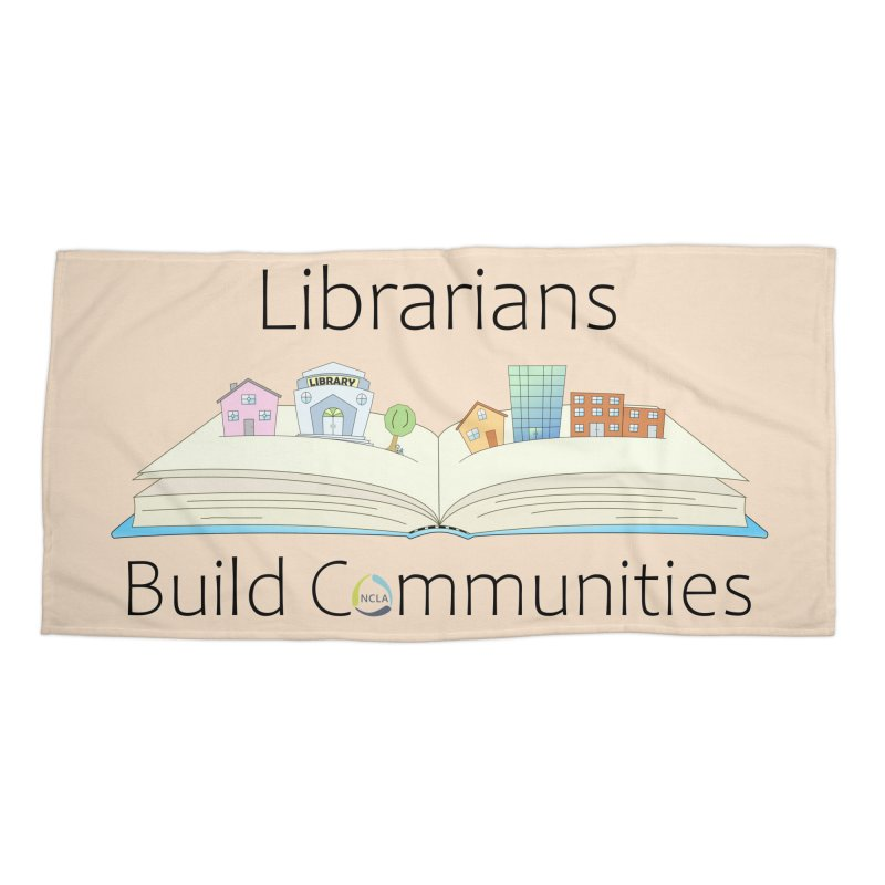 Pop-Up Communities (Black Text / Light Background) Accessories Beach Towel by North Carolina Library Association Summer Shop