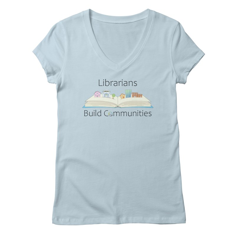 Pop-Up Communities (Black Text / Light Background) Women's V-Neck by North Carolina Library Association Summer Shop